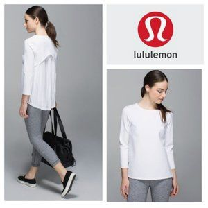 Lululemon Pleat On Long Sleeve Off White Blouse in Size 6